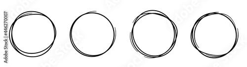 Fotografija Hand drawning circle line sketch set