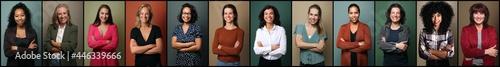 Fotografie, Obraz Portraits of 14 beautiful commercial powerfull women
