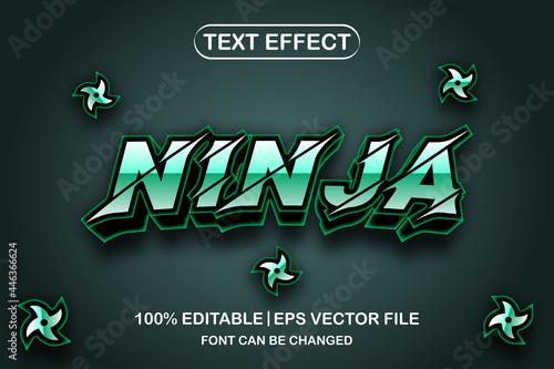 Fotografie, Obraz ninja 3d editable text effect