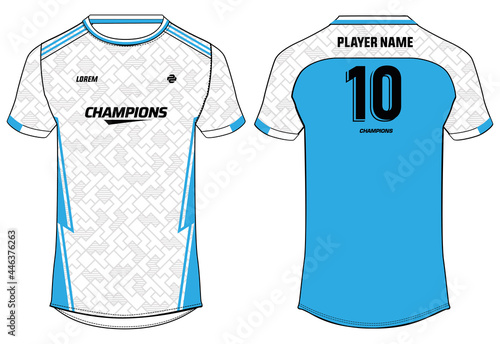 Photo Sports jersey t shirt design concept vector template, geometric abstract printed