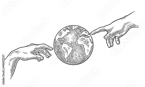 Canvas Earth planet globe. Vector black vintage engraving illustration
