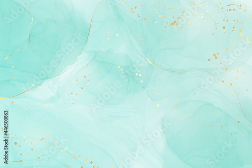 Pastel cyan mint liquid marble watercolor background with gold lines and brush stains. Teal turquoise marbled alcohol ink drawing effect. Vector illustration backdrop, watercolour wedding invitation