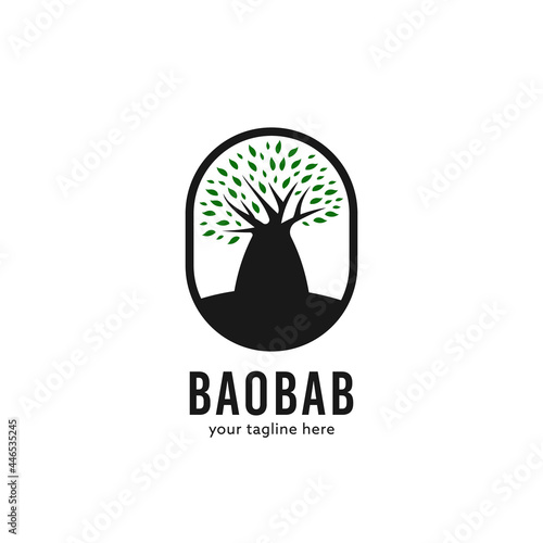 Simple madagascar baobab african tree nature logo badge icon Fototapet