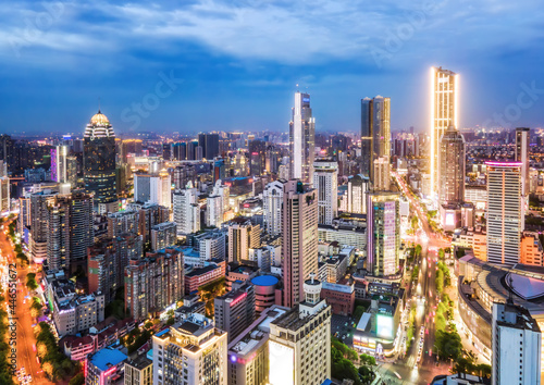 Aerial photography China Yancheng city architectural landscape night view