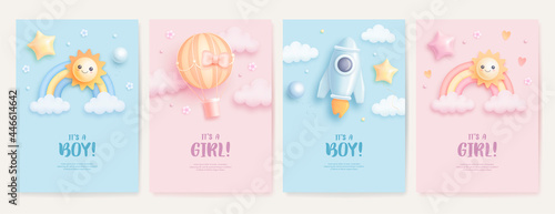 Fotografia Set of baby shower invitation with cartoon rainbow, sun, rocket and hot air balloon on blue and pink background