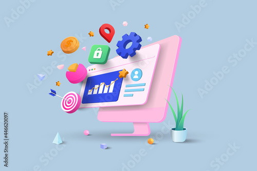 SEO Optimization, web analytics and seo marketing social media concept. 3d vector illustration