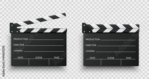 Fotografiet Realistic black movie clappers board set