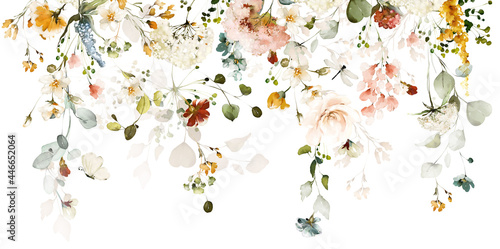 Set watercolor arrangements with garden roses. collection pink, yellow flowers, leaves, branches. Botanic illustration isolated on white background.