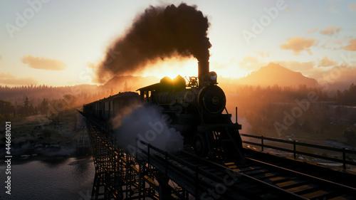 Photo Steam train at sunset. Vintage. Western