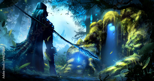 Fotografia A hooded sorceress girl stands in front of a magical, moss-covered golem, under whose head is the entrance to the dungeon, standing in the middle of a windy, misty ancient forest