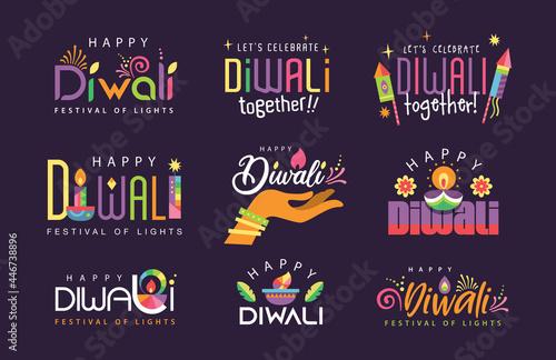 Wallpaper Mural Set of 9 Happy Diwali colorful festive typography design/ icon design