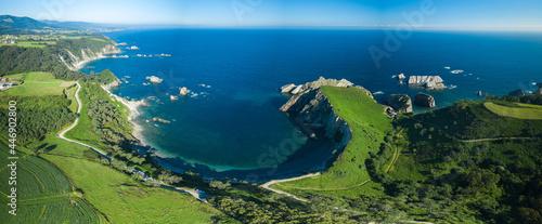 aerial view of the Cantabrian coast, playa del silencio, asturias. Spain
