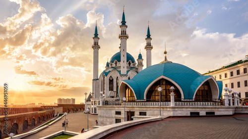 Fotografie, Obraz Kul Sharif mosque in Kazan Kremlin at sunset, Tatarstan, Russia