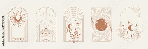 Wallpaper Mural Esoteric Linear Boho Logos and Frames elements