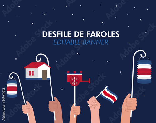 Fototapeta Lantern Parade Banner for Costa Rica Independence Day