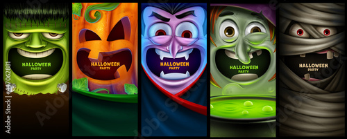 Fotografiet set of vertical banners for halloween with scary characters