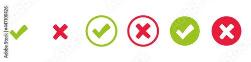 Fotografia Check mark and x set icon