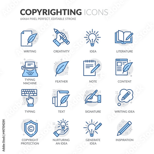 Canvas-taulu Simple Set of Copyrighting Related Vector Line Icons