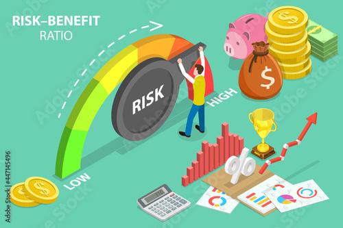 3D Isometric Flat Vector Conceptual Illustration of Risk-Benefit Ratio, High Ris Fototapeta
