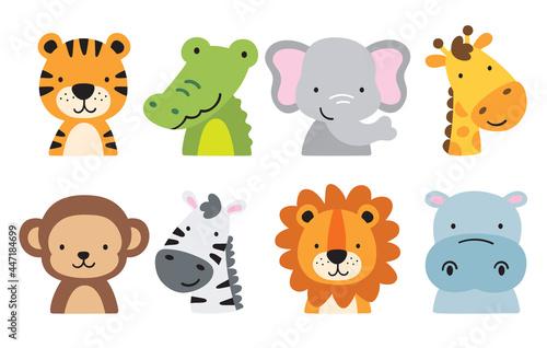 Fototapeta premium Cute wild safari jungle animals including a tiger, crocodile, alligator, elephant, giraffe, monkey, zebra, lion, and hippo. Vector illustration of jungle animal faces and heads.
