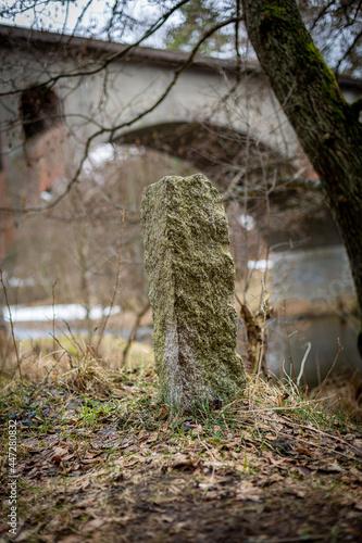 kamień graniczny w lesie
