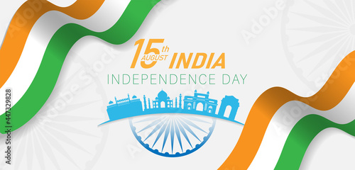 Fotografia 15 th August Indian Independence Day banner template design with Indian flag and silhouette of Indian monument