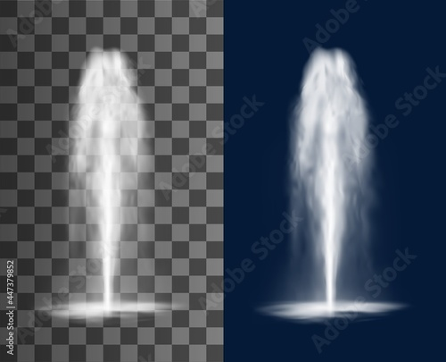 Fotografia, Obraz Vertical fountain with cascade of water jets and splashes, vector isolated realistic 3d on transparent background