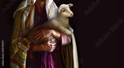 Photo Shepherd hold a sheep in his arms