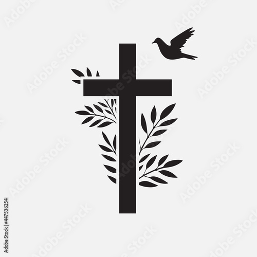 Canvas Cross, funeral design element with flower and bird