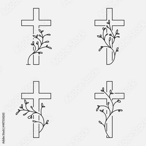 Carta da parati Cross collection, funeral design with flowers
