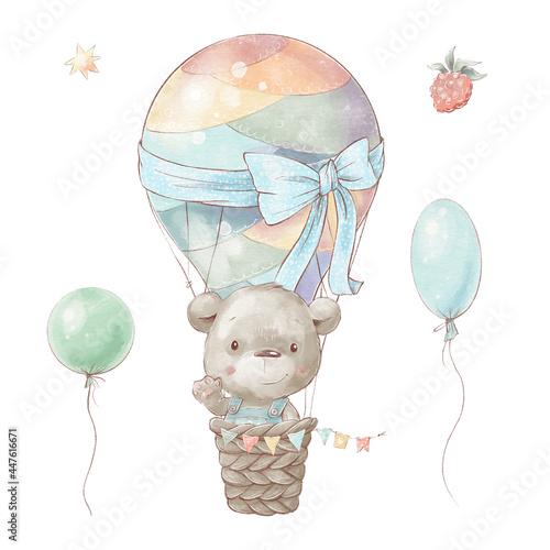 Wallpaper Mural Set of cute cartoon teddy bear in a hot air balloon