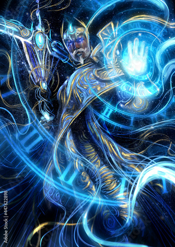 A great time magician in blue robes with golden patterns conjures a time spiral with one hand and holds a scythe staff in the other, he has a kind face with a mustache and glowing blue eyes Fototapeta