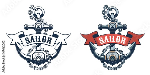 Photographie Seaman anchor retro logo