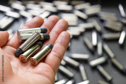 Fotografie, Tablou Bullets, Image of Cartridges of .38 pistols ammo.