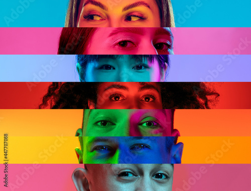Canvas Print Collage of close-up male and female eyes isolated on colored neon backgorund