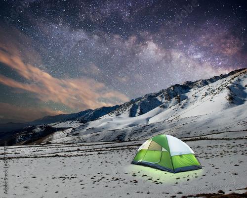 Illuminated tent on Mount Whitney at night, Eastern Sierras, California, USA