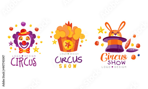 Foto Circus Show Logo Design Set, Carnival, Festival Event Hand Drawn Labels Badges V