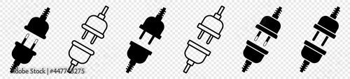 Fotografering electric plug icon set, socket unplugged electric, vector illustration