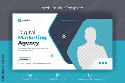 Slika na platnu Creative corporate social media  web banner and youtube thumbnail template   You