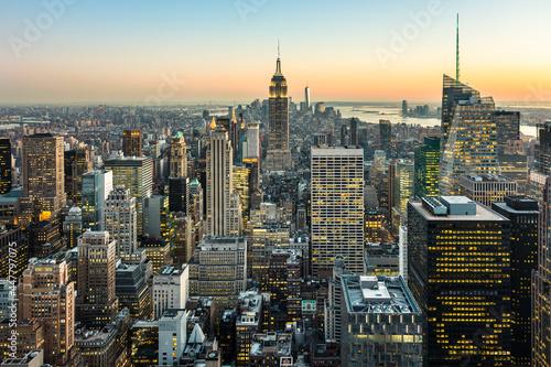 Canvas New York City skyline with urban skyscrapers at dusk, USA.