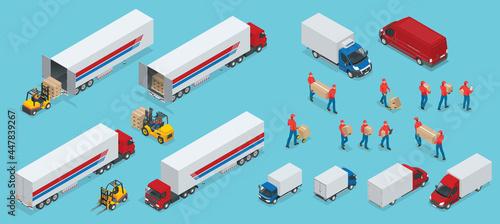 Fotografie, Obraz Isometric Logistics icons set of different transportation distribution vehicles, delivery elements