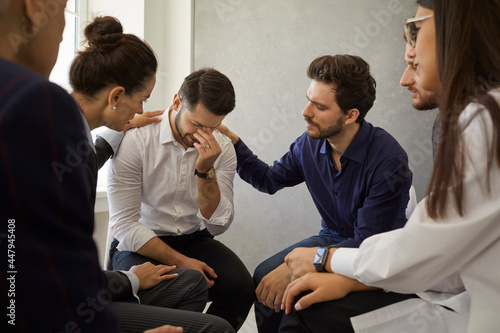 Patients in group therapy meetings helping each other deal with loss and overcome grief Fototapeta