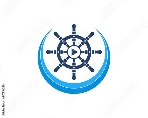 Fotografie, Tablou Ship steering wheel on the blue wave