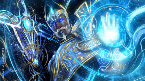 Fotografia A great time magician in blue robes with golden patterns conjures a time spiral with one hand and holds a scythe staff in the other, he has a kind face with a mustache and glowing blue eyes