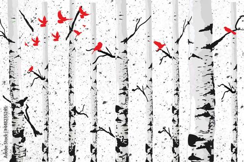 """Obraz na płótnie zmywalna """"Brzoza z czerwonymi ptakami"""""""