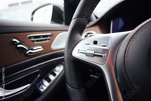 Canvas Print Control buttons on steering wheel. Car interior.