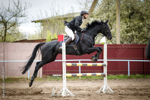 Photographie portrait of black mare horse and adult man rider jumping during equestrian showj