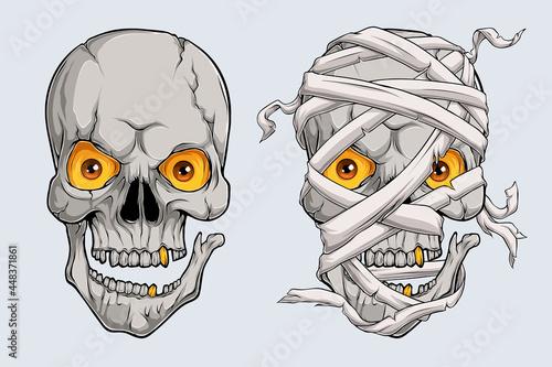 Halloween realistic scary mummy skulls face, Egyptian mummy head Fototapet