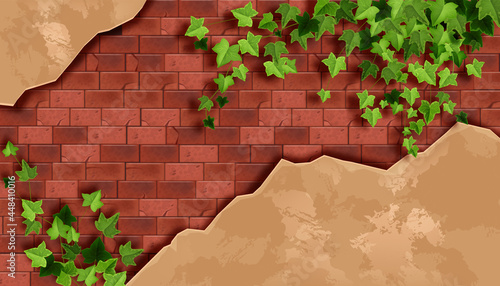Fotografie, Obraz Red brick wall background, old stone texture, green ivy leaf, dirty plaster, creeper plant branch