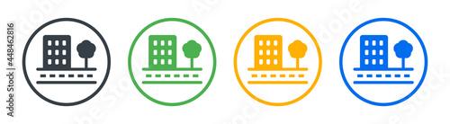 Fotografija City building in town with tree icon vector illustration.